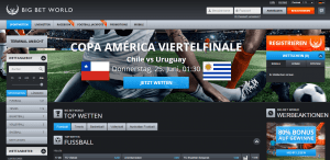 Die Startseite von BigBetWorld Sportwetten