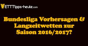 Bundesliga Vorhersagen Prognosen Langzeitwetten 2016/2017