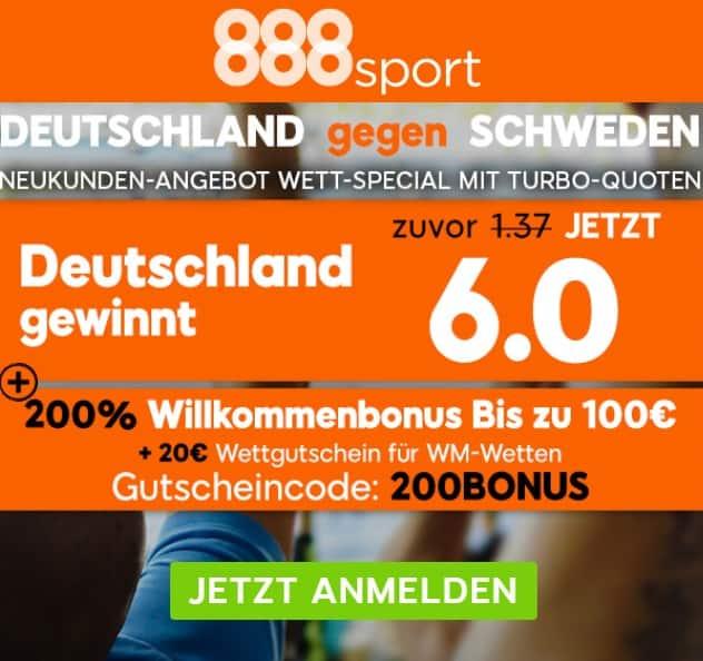 Deutschland gegen Schweden 23.06.2018 Sonderbonus 888