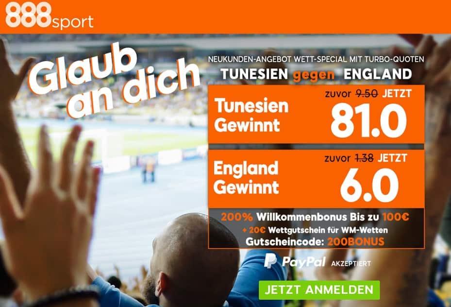 WM 2018 Bonus 888 Sport England Tunesien