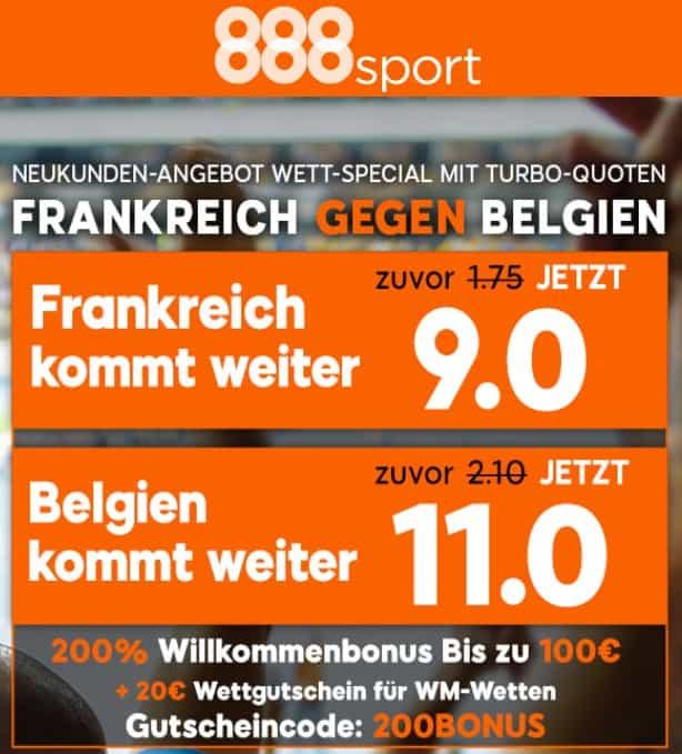 Frankreich Belgien WM 2018 Bonus 888