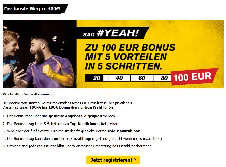 Interwetten Neukundenbonus 100€